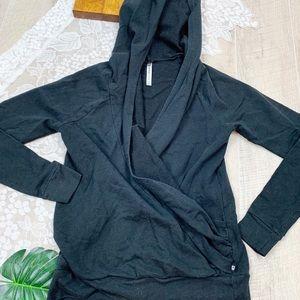 Fabletics Tops - Fabletics Black Hooded Wrap Long Sleeve Top 1840